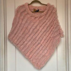 Fur and wool poncho